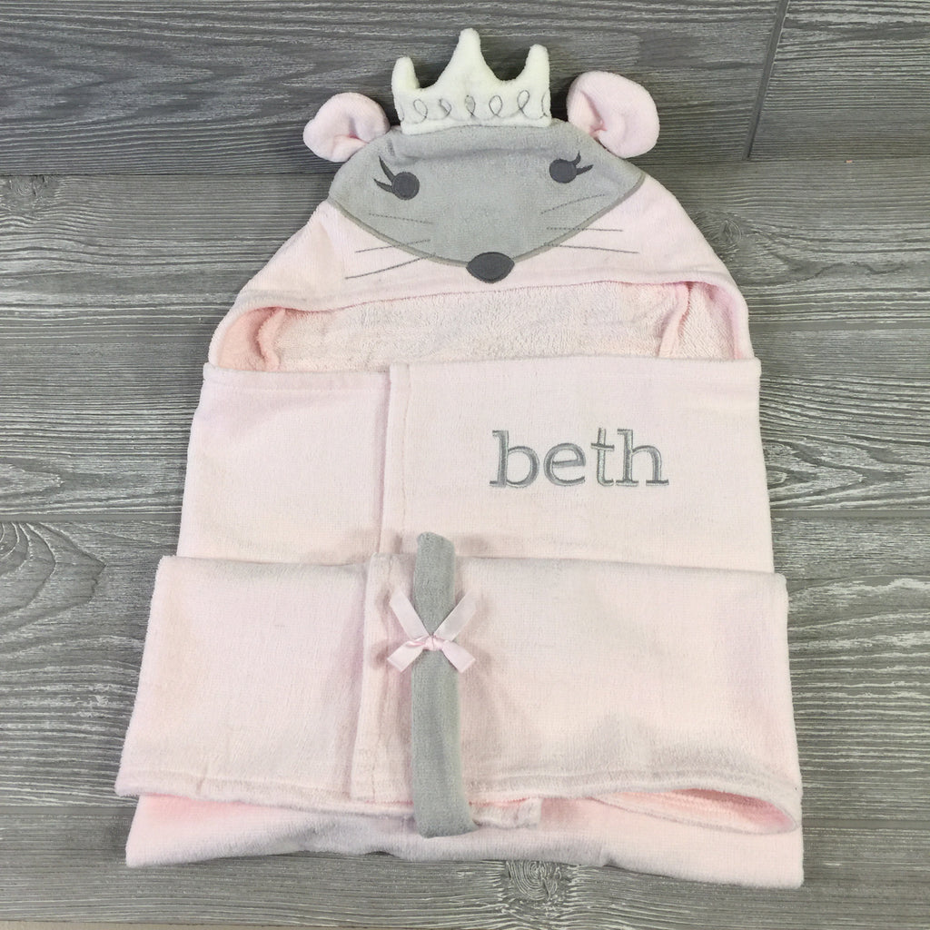Kids and Babies, Hooded Bath Wrap, Pink, Princess Mouse