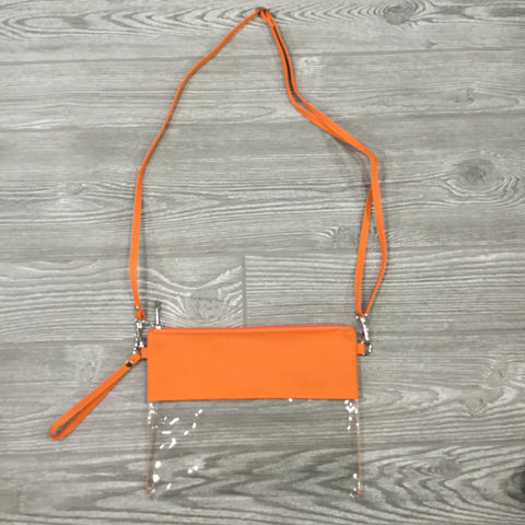 Game Day Clear Purse, Crossbody Strap, Wristlet, Orange