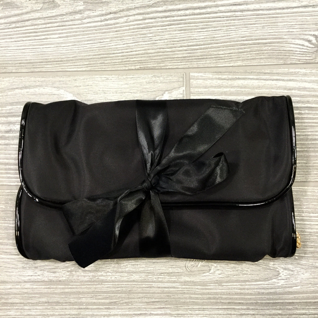 Jewelry Roll, Black Satin With Patent Leather Trim with Satin Tie