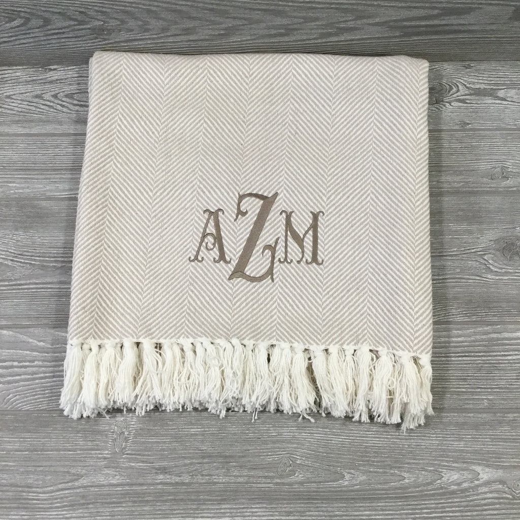 Blanket, Cotton Throw, Tan and Cream Herringbone with Fringe