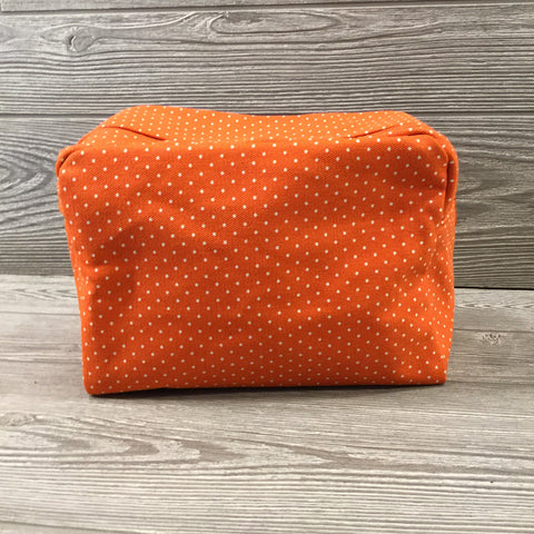 Makeup Bag, Orange Canvas with Navy Fox Inside