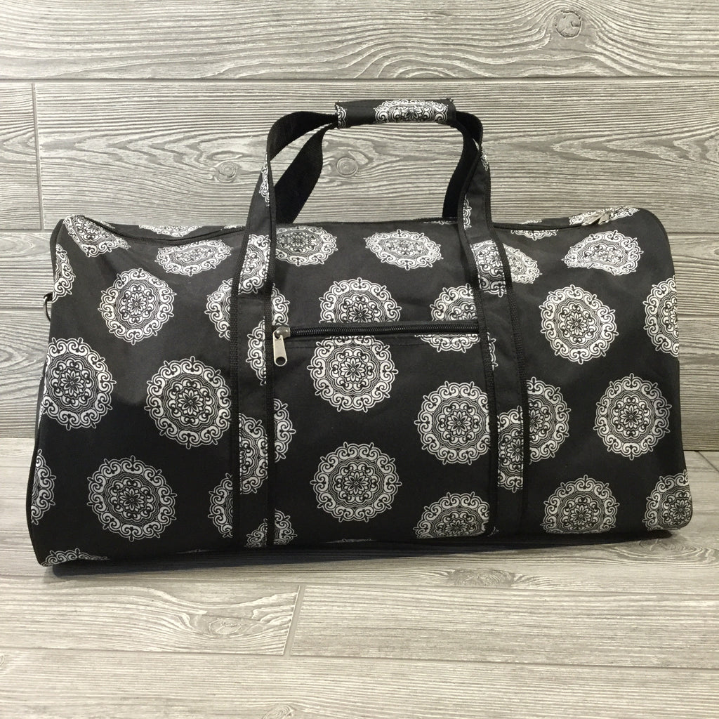 Duffel Bag, Black Medallion Pattern