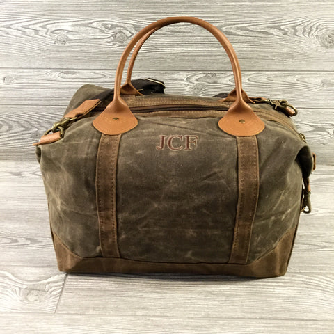 Distressed Waxed Canvas Weekender, Olive Green with Brown Trim and Tan Leather Handles