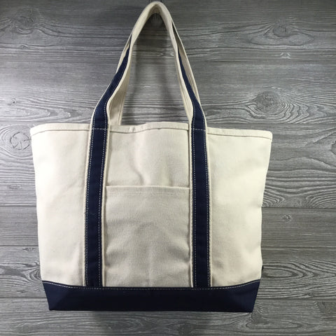 Boat Tote, Medium Size, Canvas Zipper Closure, 2 Trim Colors