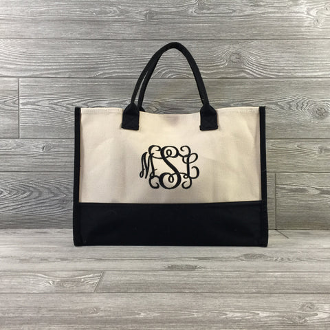Tote, Cream & Black Canvas Handles, Open Top