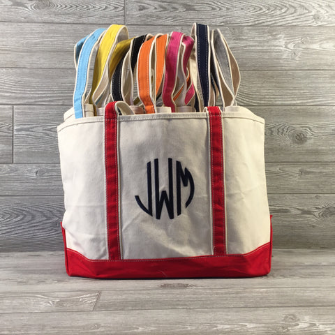 Boat Tote, Canvas with Zippered Top, 8 Trim Colors