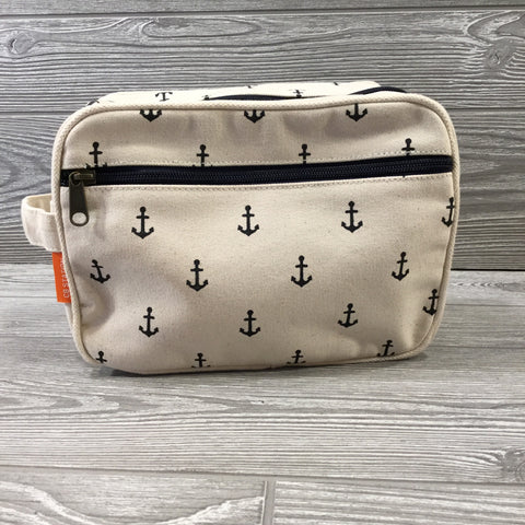 Makeup Bag, Canvas with Navy Anchors, Exterior Zipper