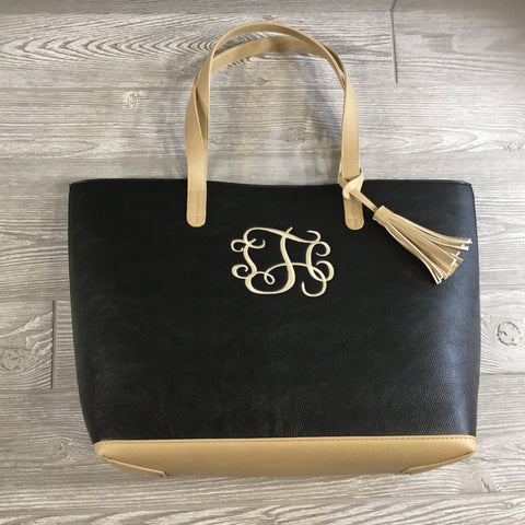 Tote, Black And Light Tan Faux Leather, Snap Closure