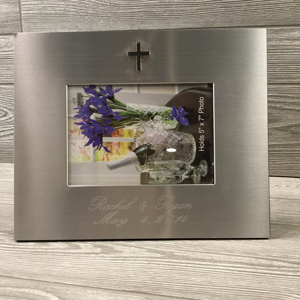 "Silver Picture Frame for 5""x 7"" Photo, Silver Cross"