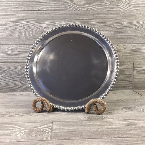 Decorative, Beaded Silver Tray, Round