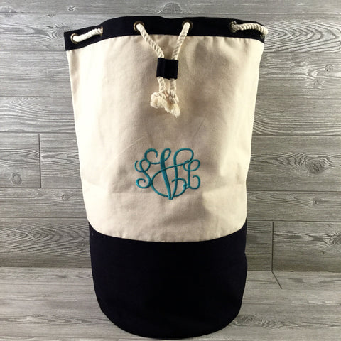 Laundry Bag, Navy and Natural Canvas, Drawstring Closure
