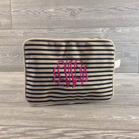 Makeup Bag, Canvas with Navy Pinstripe Pattern