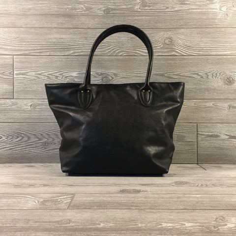 Tote, Black Faux Leather, Snap Closure, Greek Key Black Interior