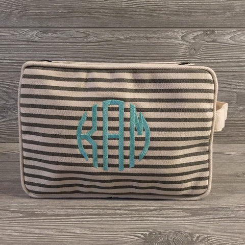Makeup Bag, Canvas with Gray Pinstripe Pattern