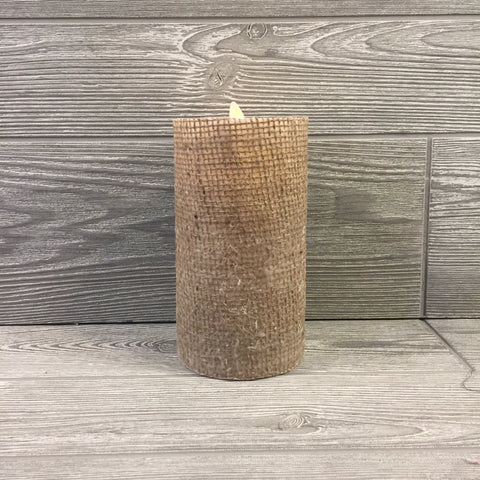 Home Decor, Flameless Candle, Burlap