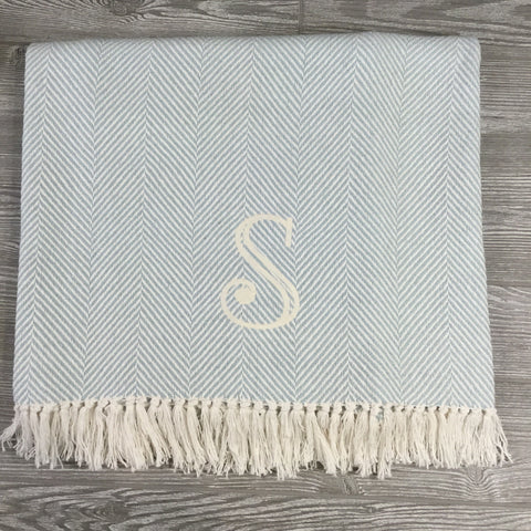Blanket, Cotton Throw, Sea Glass and Cream Herringbone with Fringe