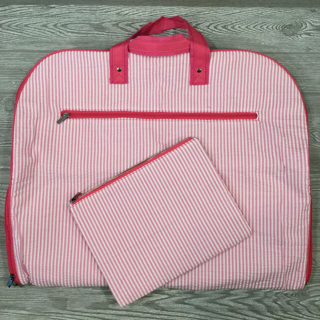 Garment Bag, Pink Seersucker, Matching Accessary Bag