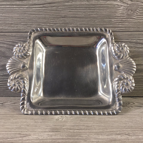Decorative, Silver Serving Dish with Rope and Shell Design
