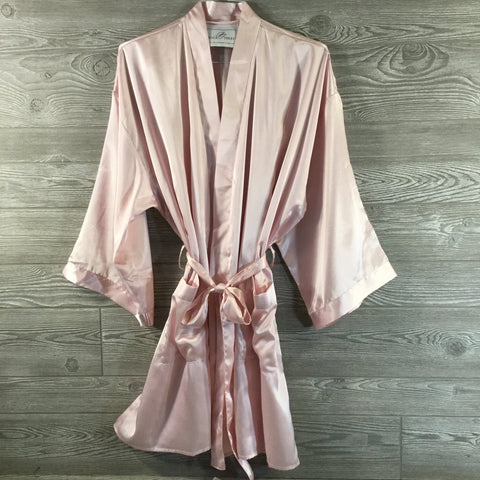 Robe, Light Pink Satin, Short Length With Pocket