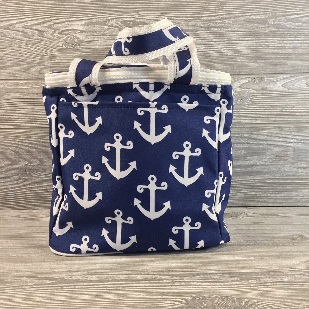 Cooler Bag, Blue and White Anchor Pattern, Small