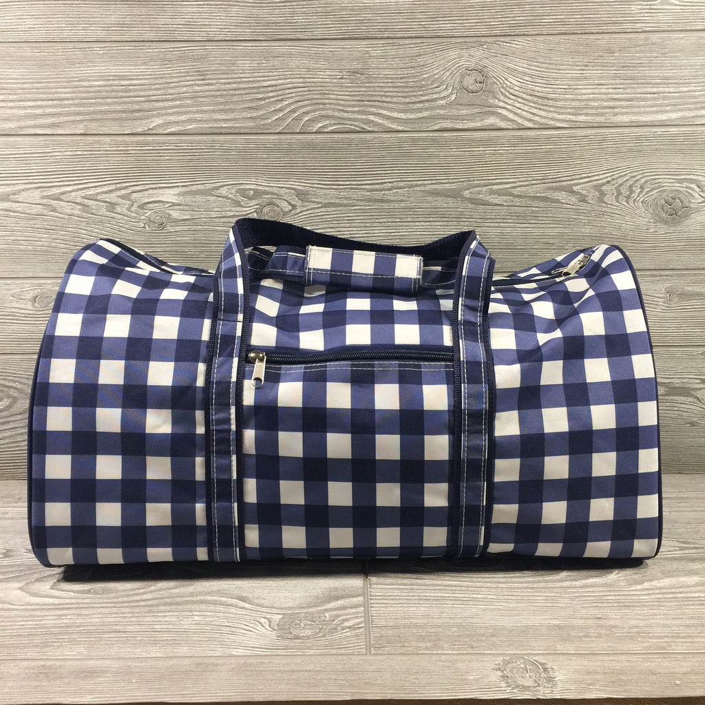Duffel Bag, Blue Gingham Pattern