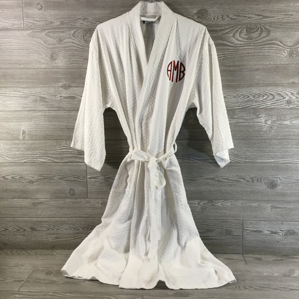Robe, Long Kimono Style Sea Shell Pattern, White Polyester and Cotton