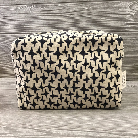 Makeup Bag, Canvas Navy Star Pattern, Green Stripe Interior