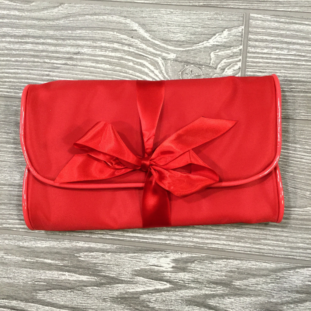 Jewelry Roll, Red Satin With Patent Leather Trim with Satin Tie