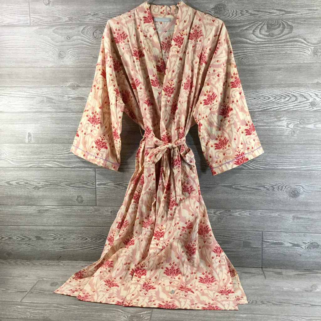 Robe, Pink and Deep Rose Floral Pattern, Lightweight Cotton