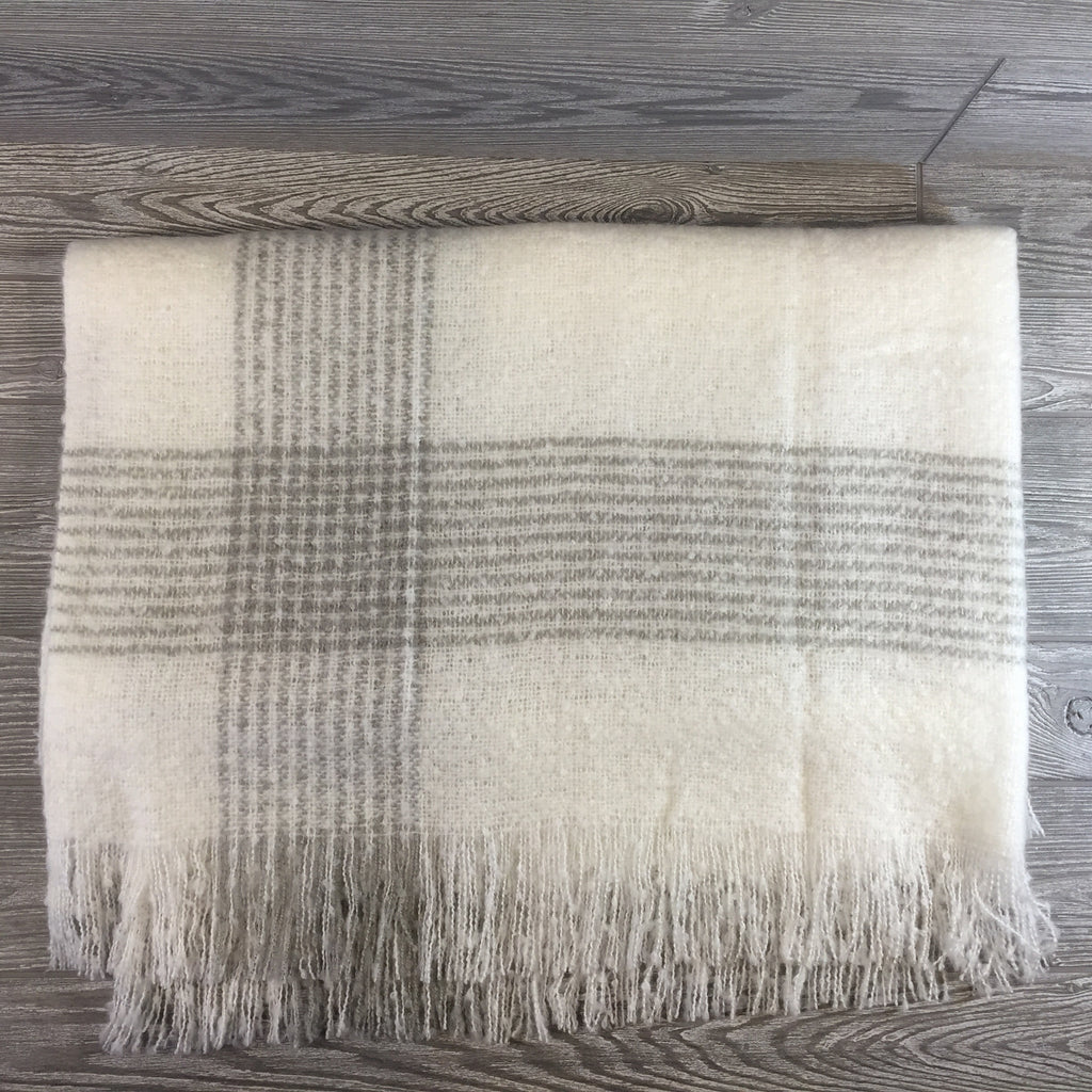 Blanket, Mohair Throw, Cream with Gray Striped Border