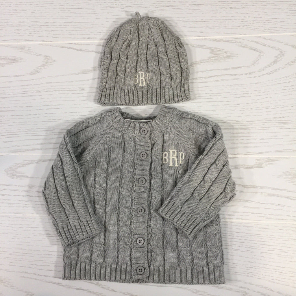 Kids and Babies, Cable-Knit Sweater and Matching Hat, Gray