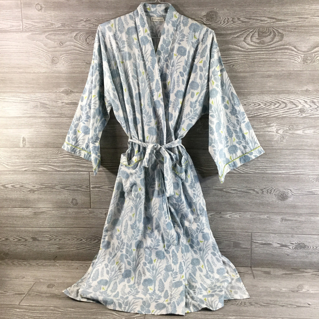 Robe, Light Blue Floral With Lime Green Bee Detail, Lightweight Cotton