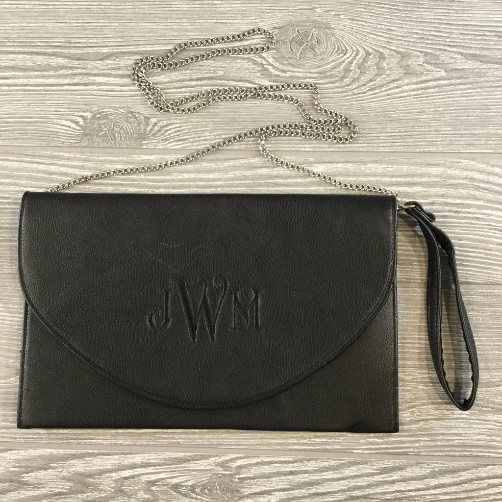 Clutch, Faux Black Leather With Snap Closure, Silver Metal Chain Strap, Wristlet