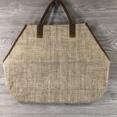Log Carrier, Brown Tweed Woven with Coated Backing and Canvas Handles