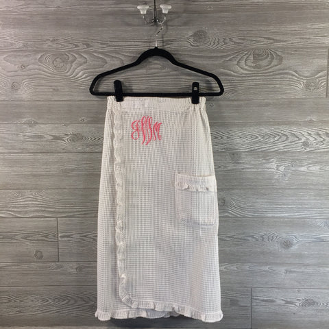 Spa Wrap, White Cotton Waffle Texture with Pocket