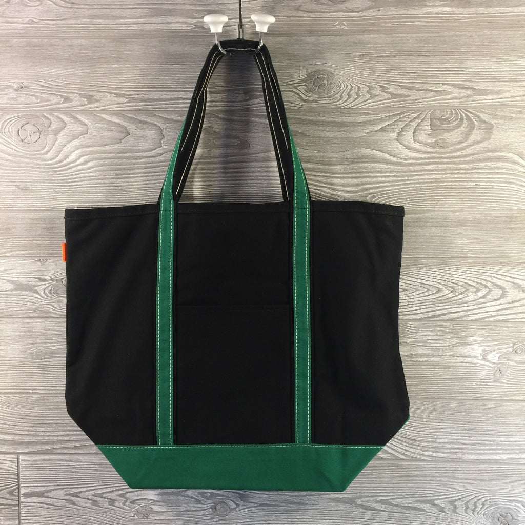 Boat Tote, Canvas with Zippered Top, Black with Green Trim