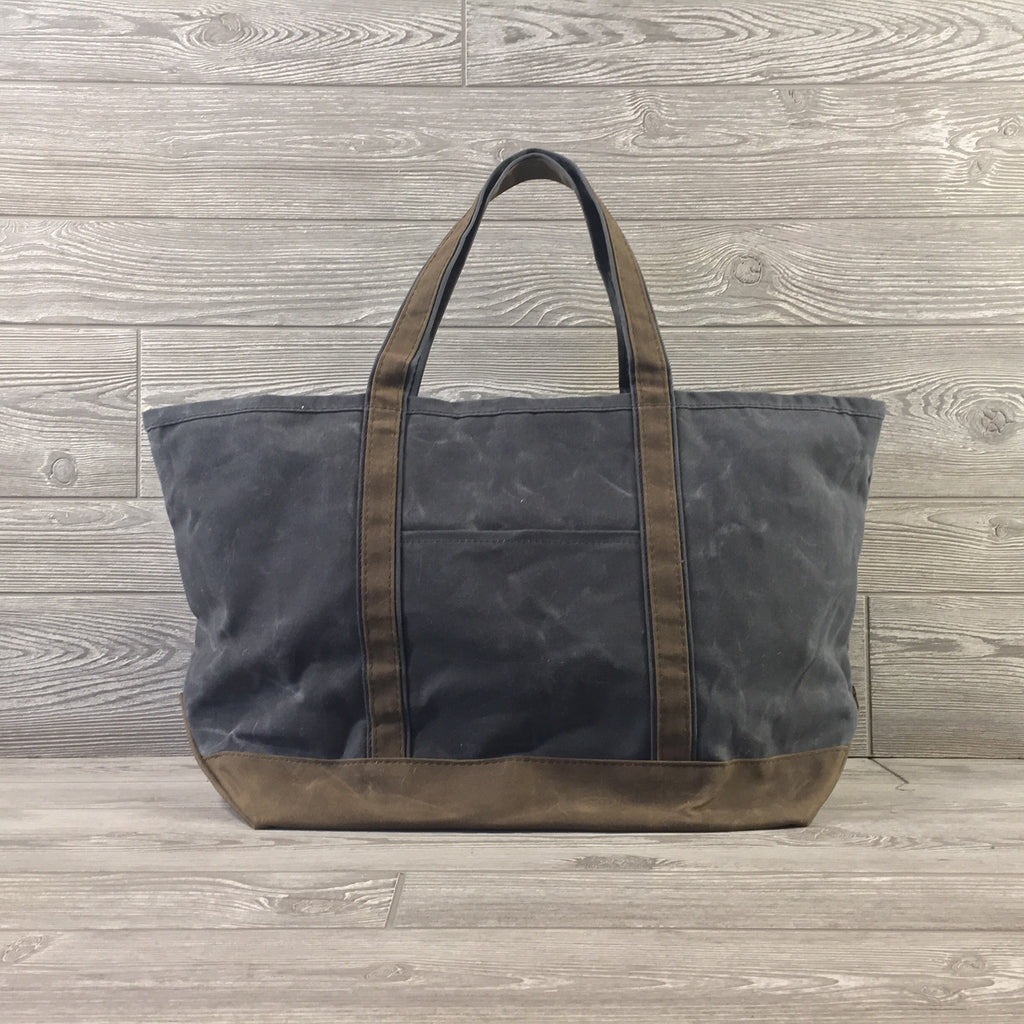 Distressed Waxed Canvas Boat Tote, Navy Charcoal with Brown Trim