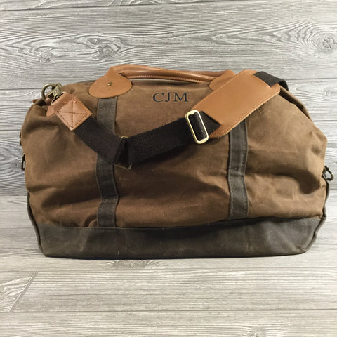 Distressed Waxed Canvas Weekender, Brown with Olive Green Trim and Tan Leather Handles