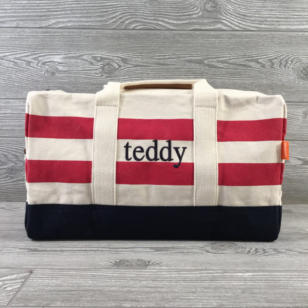 Canvas Duffel, Canvas Handles and Shoulder Strap, Natural, Red & Navy