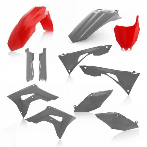 FULL KIT PLASTIC HONDA CRF450 + CRF250 19-20 7 pieces - RED/GREY