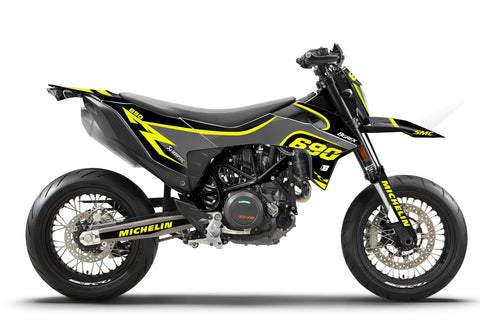 FULL GRAPHICS KIT FOR KTM SMC-R 690 2019-2021 SUPERMOTO FLUO ''SMC DARK'' DESIGN