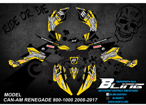 "CAN-AM RENEGADE 800-1000 cc 2008-2017 GRAPHICS KIT ""SHADOW"" DESIGN YELLOW"