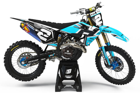 FULL GRAPHICS KIT FOR HUSQVARNA ''DEFENDER BLUE'' DESIGN