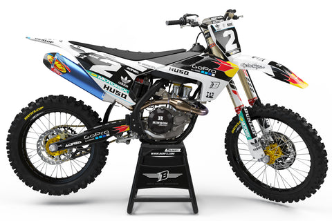 FULL GRAPHICS KIT FOR HUSQVARNA ''FACTORY WHITE'' DESIGN