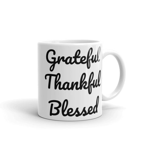 """Grateful, Thankful, Blessed"" Mug"