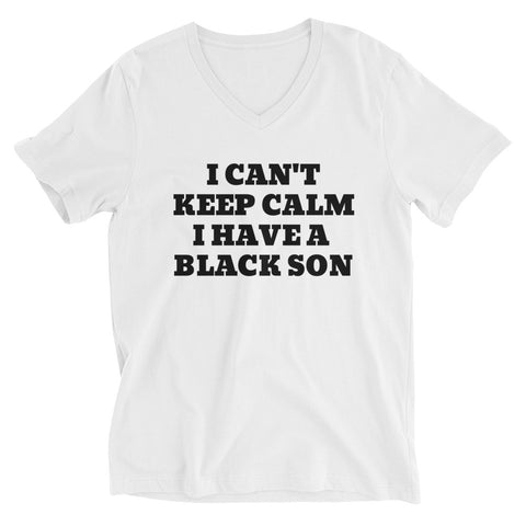 """Keep Calm"" Unisex Short Sleeve V-Neck T-Shirt (White)"