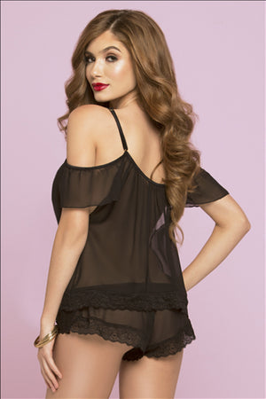 Black Noir Chiffon & Lace Cami Set