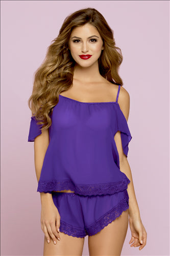 Purple Passion Soft Chiffon & Lace Cami Set