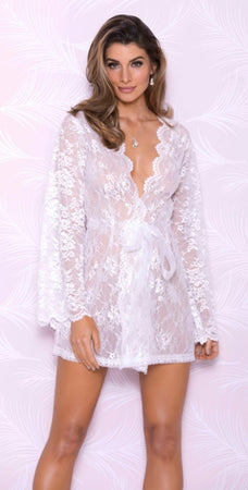 Eternal Lace Bridal Robe w/ Sheer Tie