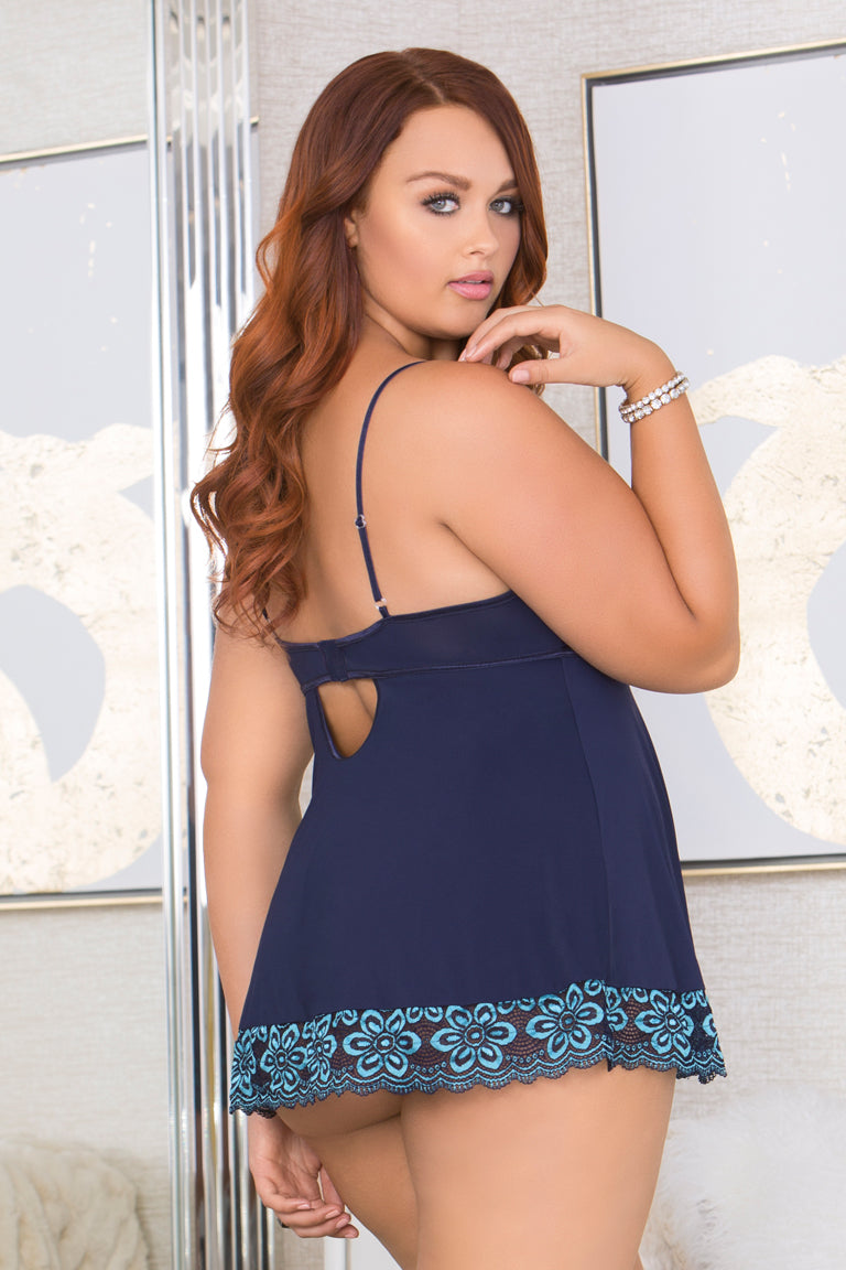 Some Blue Cross Dye Strappy Lace Cup Babydoll